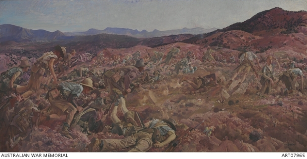 'The Charge of the 3rd Light Horse Brigade at the Nek, 7 August 1915'. George Lambert 1924. Used with permission of the Australian War Memorial