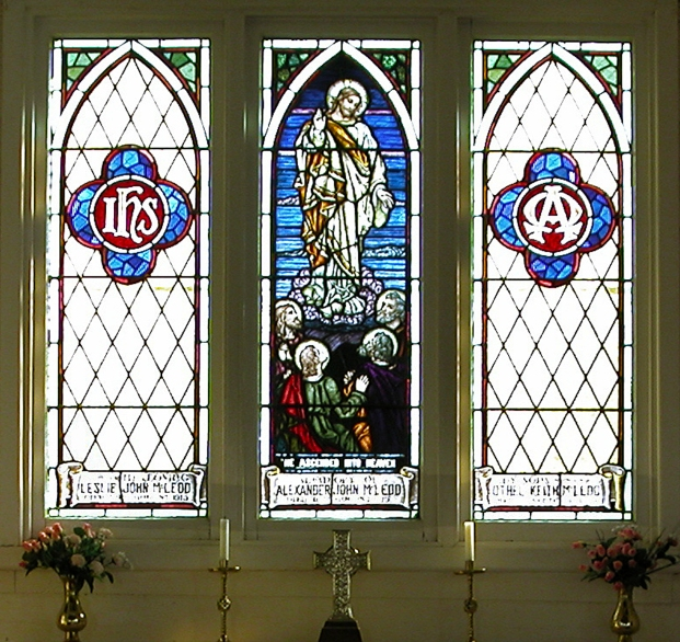 Windows commemorating the 3 McLeod brothers, St Paul's Anglican Church, Yarra Glen. Used with kind permission of the Church.