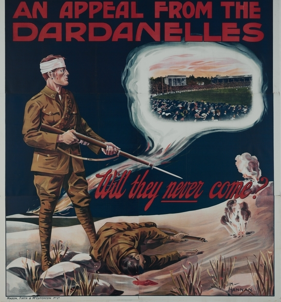 "July 1915 Recruiting Poster: ""Will they never come?"", courtesy Australian War Memorial"