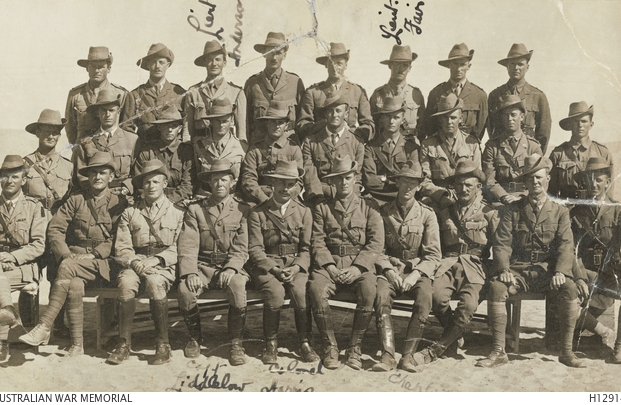 Officers 59 Btn. Egypt. Capt. Aubrey Liddelow fourth from left, front. Courtesy AWM.