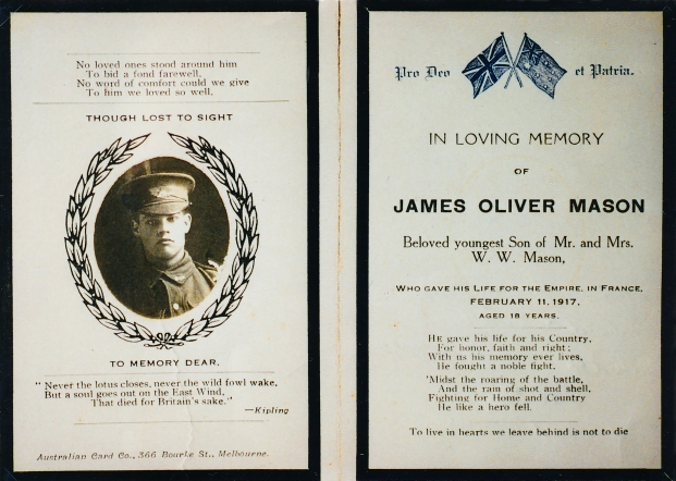 Memorial Card for J O Mason, courtesy Yarram & District Historical Society