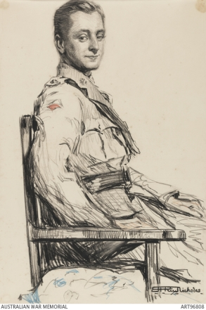 Lt. B F Nicholas, courtesy AWM (drawing by his sister-in-law, Hilda Rix Nicholas)